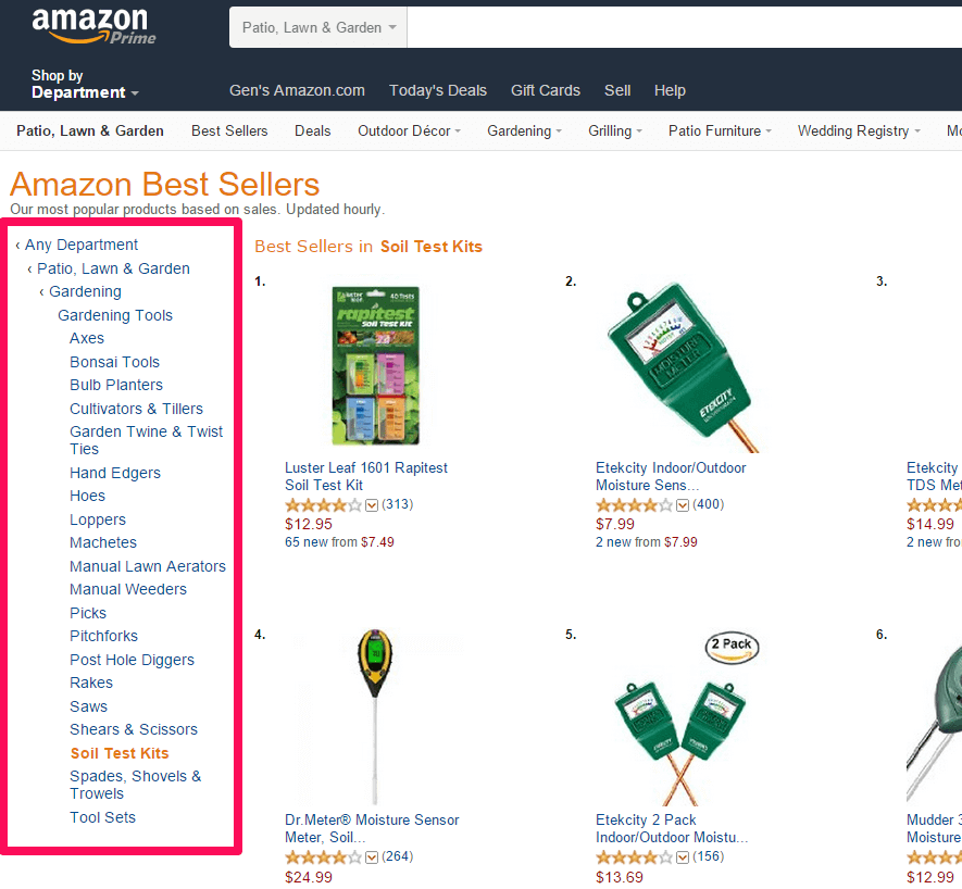 Amazon Best Sellers in Category and sub-category
