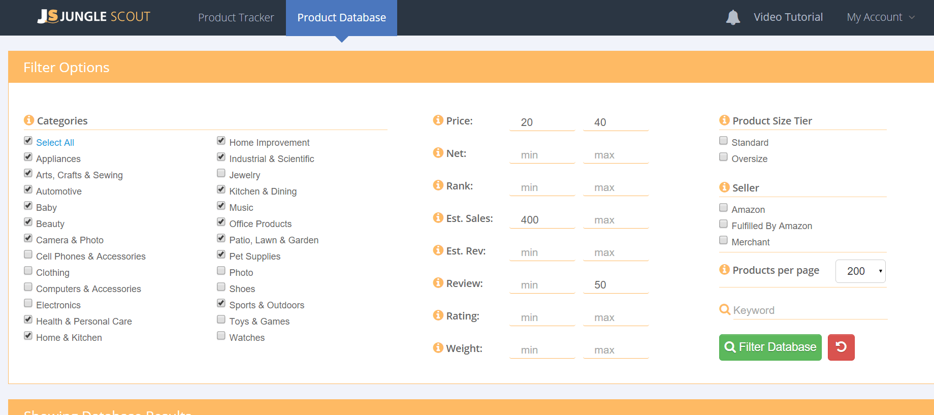 JS product database filter