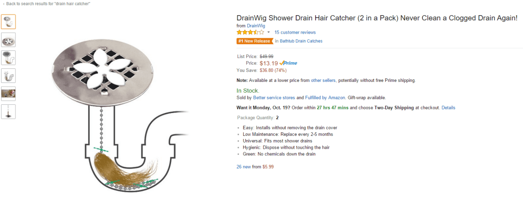 drain hair catcher listing