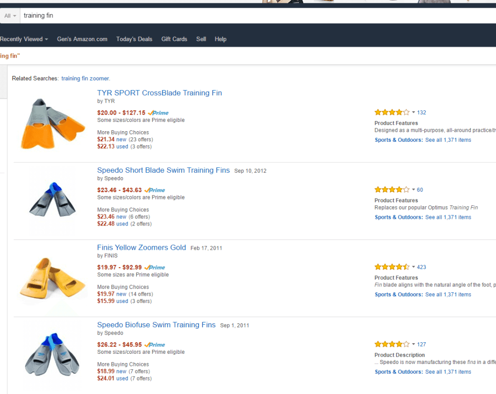 training fins on amazon