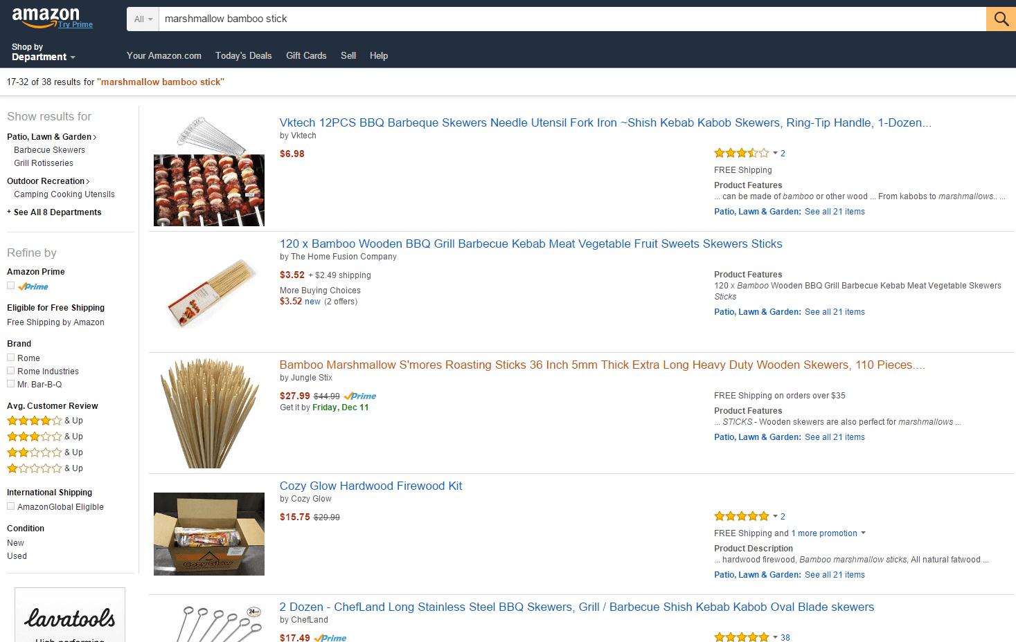 Jungle Stix organic listing