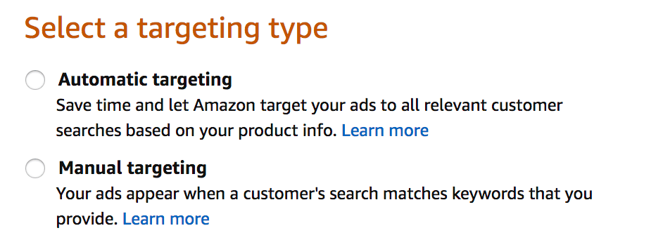 Select a targeting type