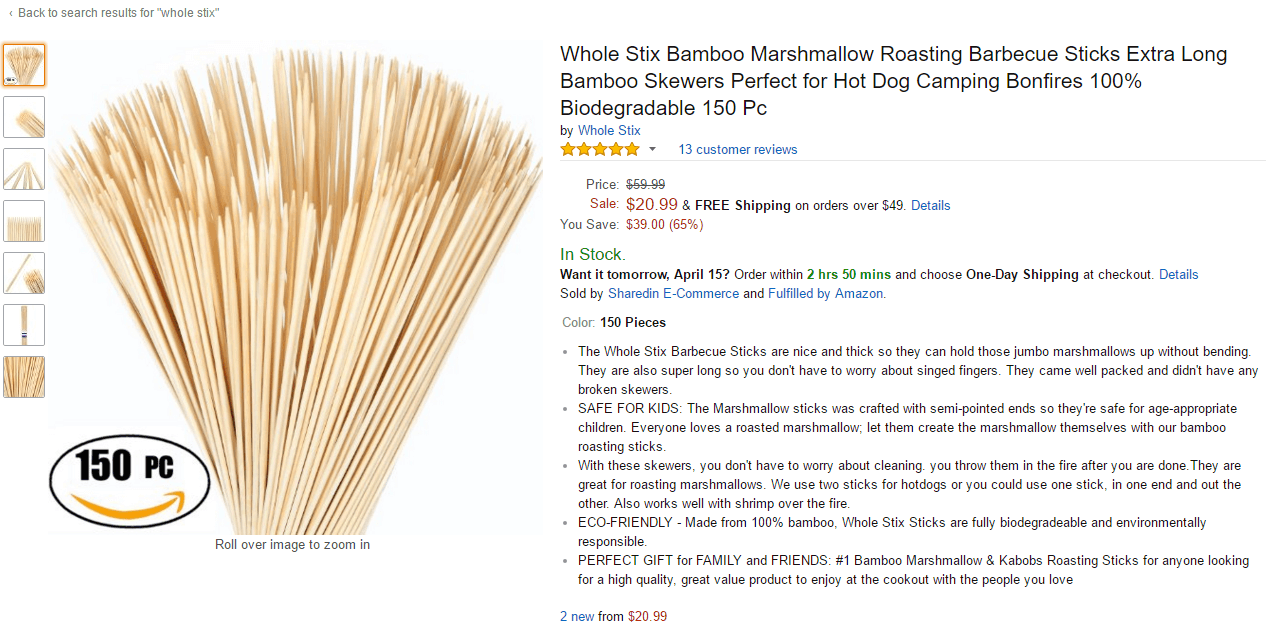 whole stix on amazon private label product
