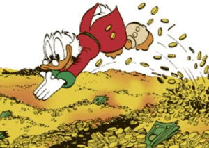 7 figure business owner donald duck & money illustration