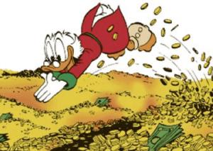 7 figure business owner donald duck & money illustration