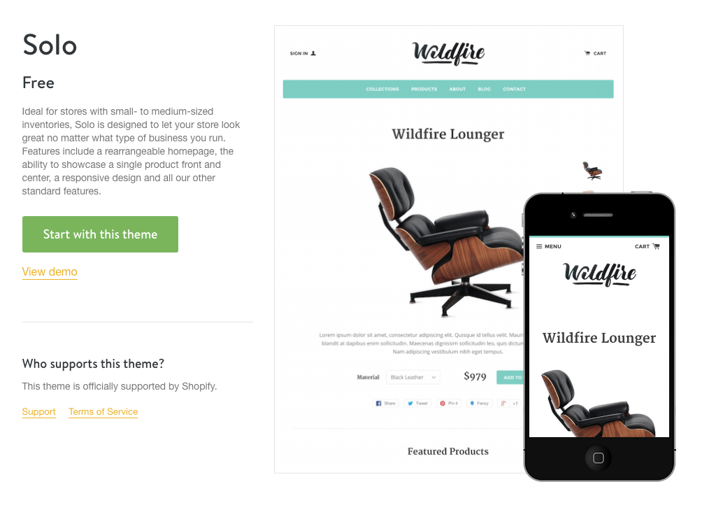Shopify wildfire single product theme