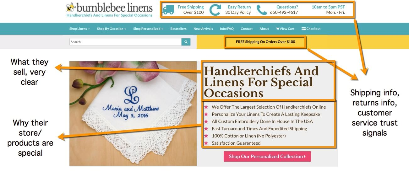 bumblebee linens case study - how the store creates trust