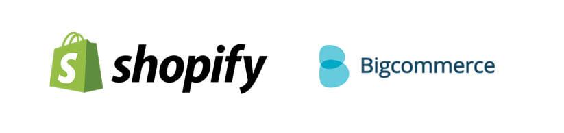 shopify and bigcommerce logos - managed ecommerce tools