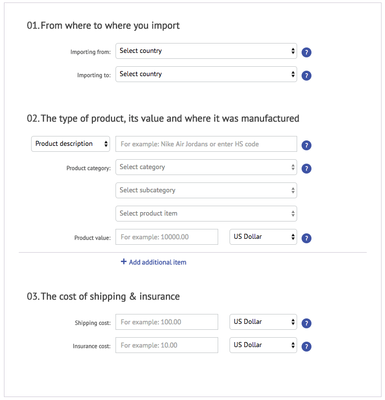 dutycalculator.com example