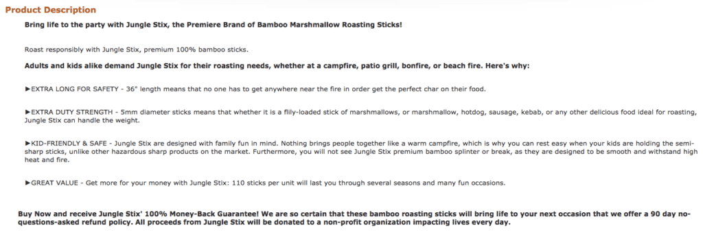 Jungle Stix original product description