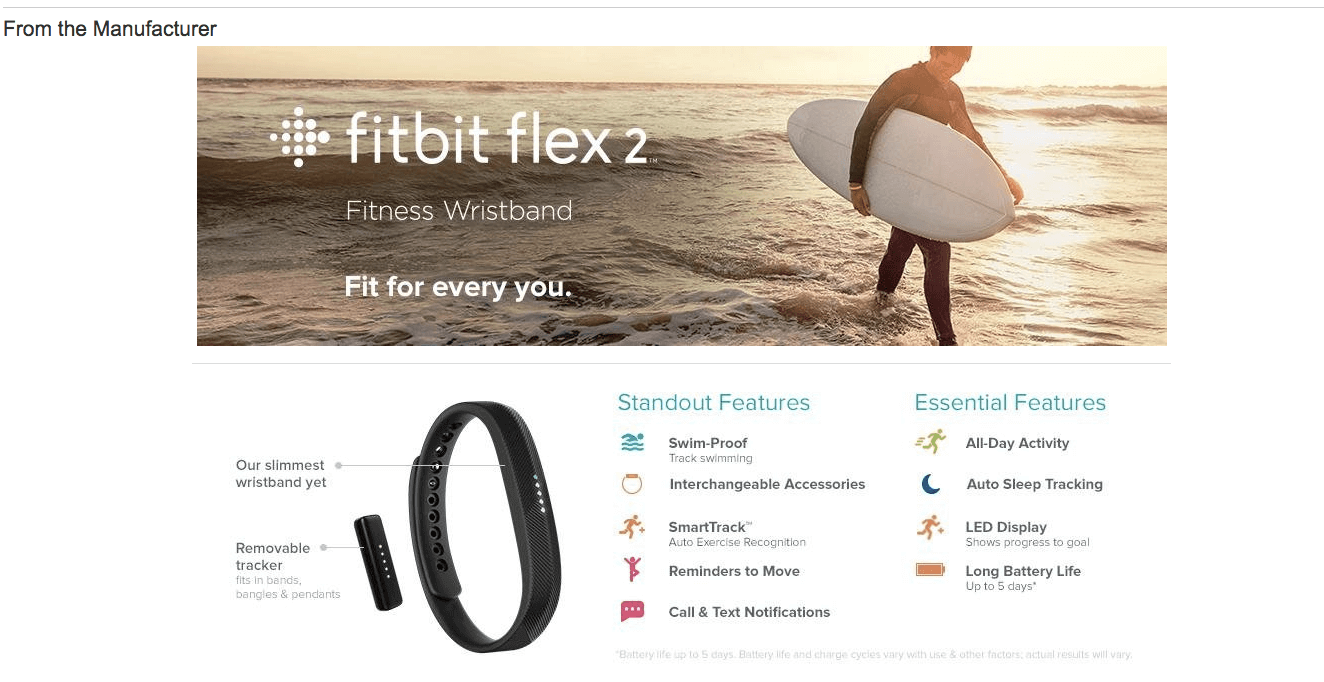 example of a+ content from manufacturer fitbit