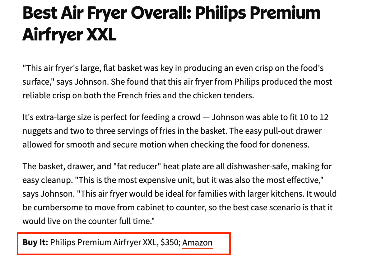 Amazon affiliate program: Air Fryer listing