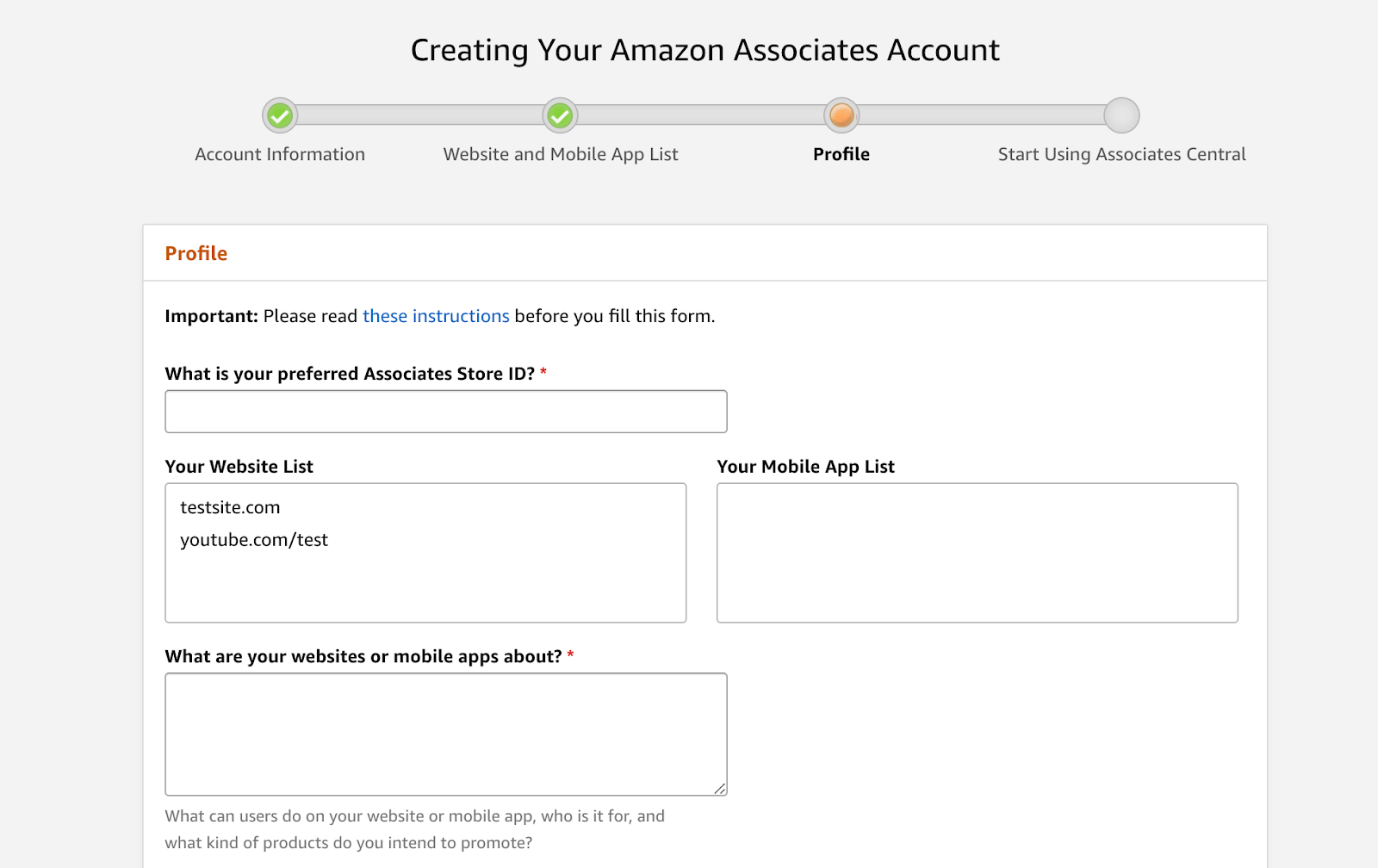 Amazon affiliates program: Profile information