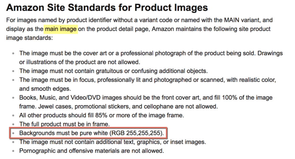 amazon photography requirements white background