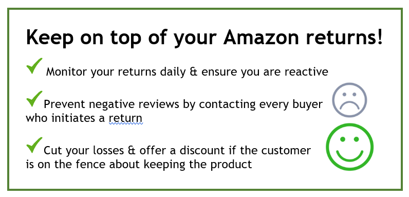 bullet list re: customer returns