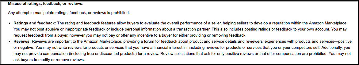 Amazon TOS - rules on reviews