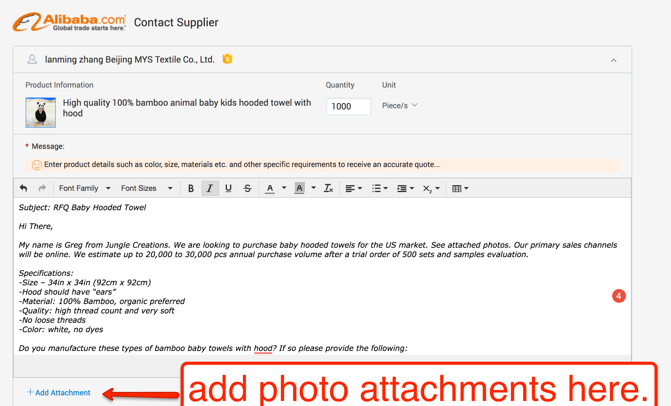 copypaste your template and fire it off but first dont forget to also include the image attachments to help explain your request in greater detail