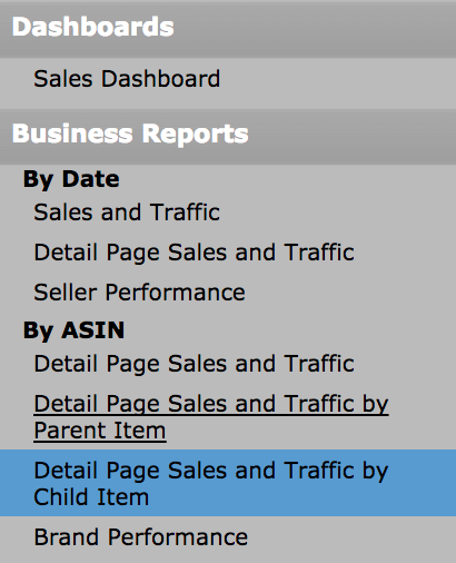 Business Reports seller central
