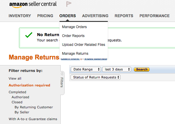 manage returns seller central