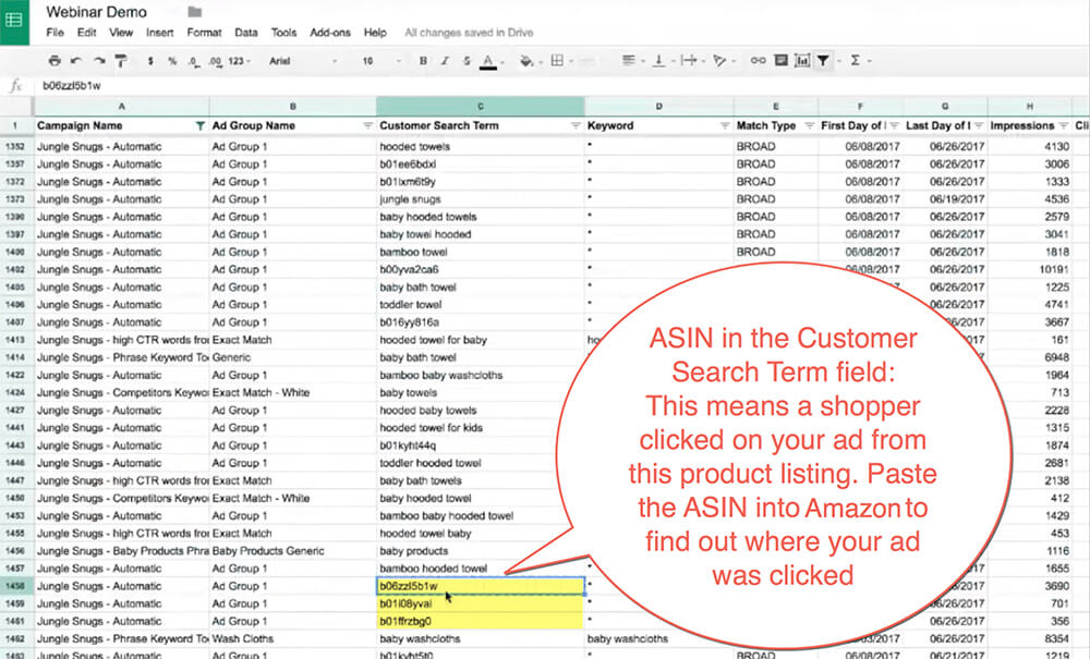 ASIN in customer search term