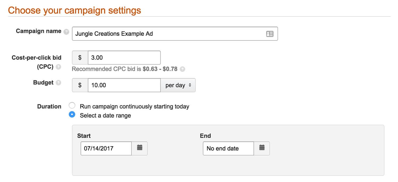 set your bid settings product display ad