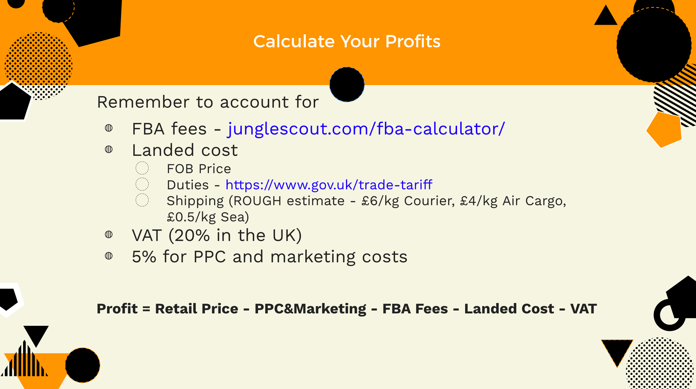 Calculate your amazon fba profits
