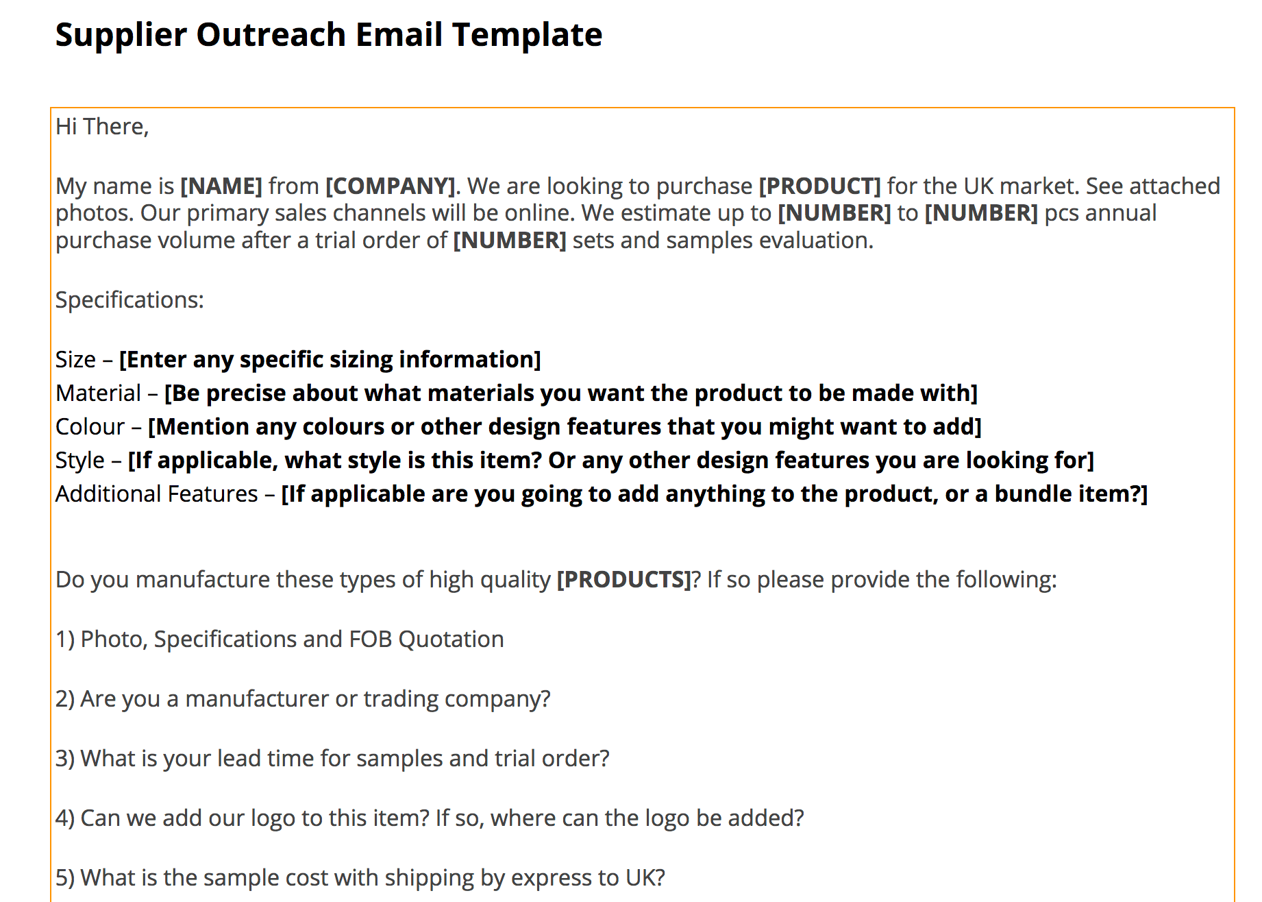 supplier outreach template