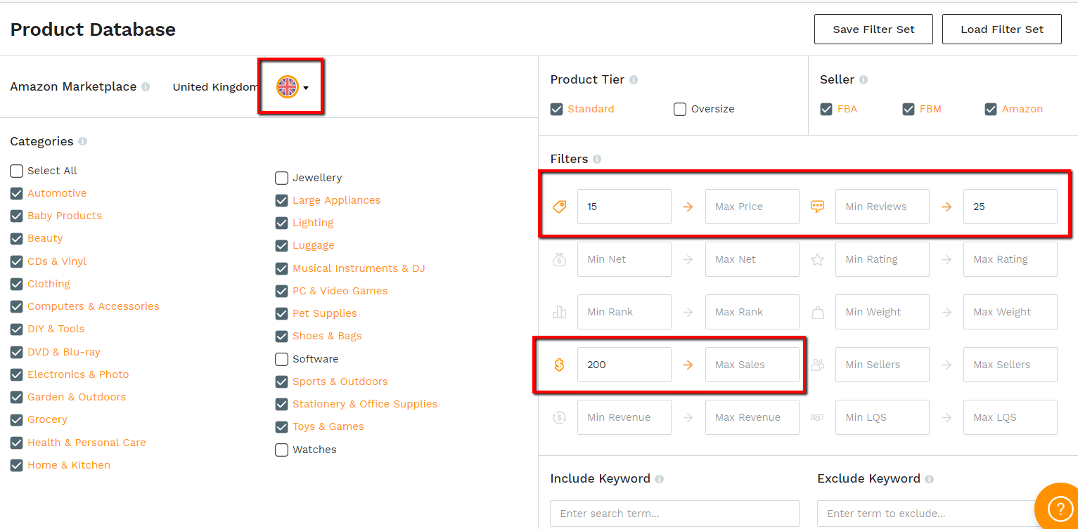 MDCS UK Database filters