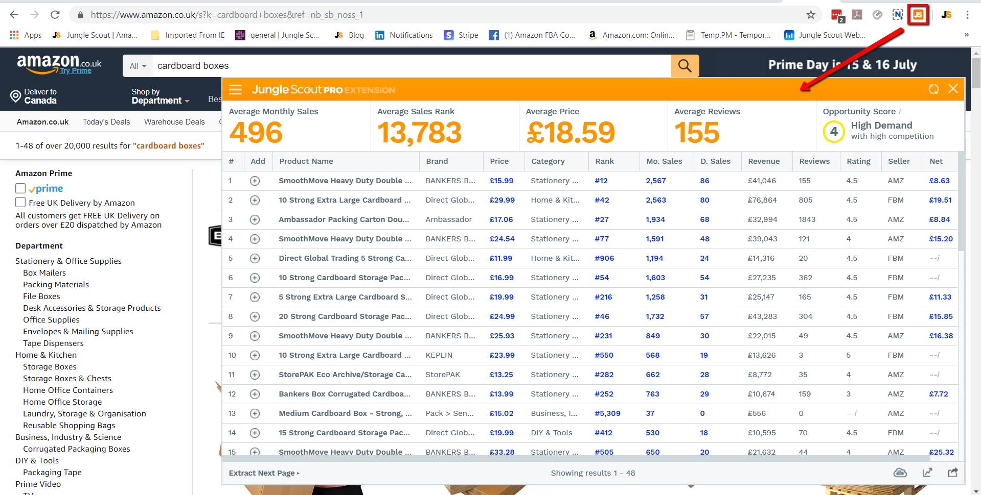 Extension open on amazon.co.uk