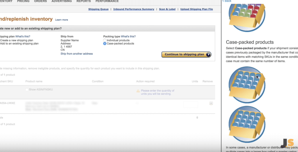 Create a shipping plan for your inventory arriving at Amazon