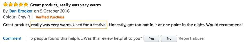 sleeping bag positive review