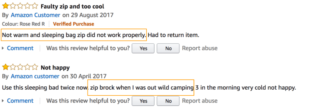 reviews on amazon for sleeping bags
