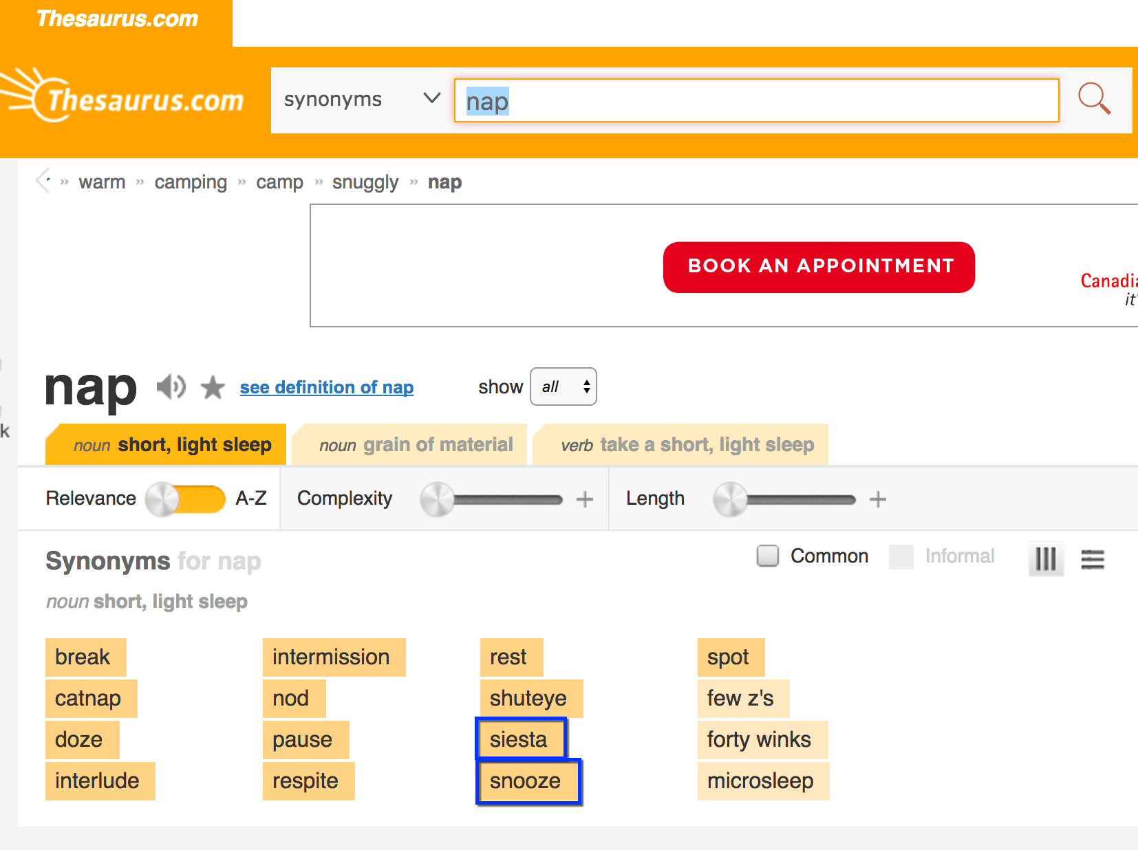 finding a brand name using a synonym finder