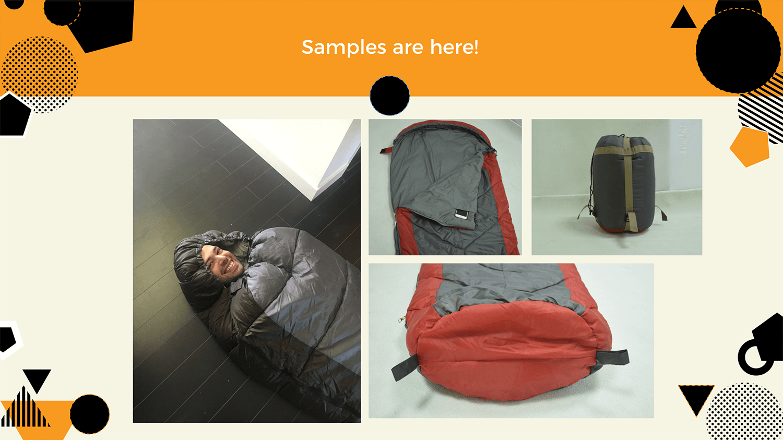 Jungle sleeping bag samples