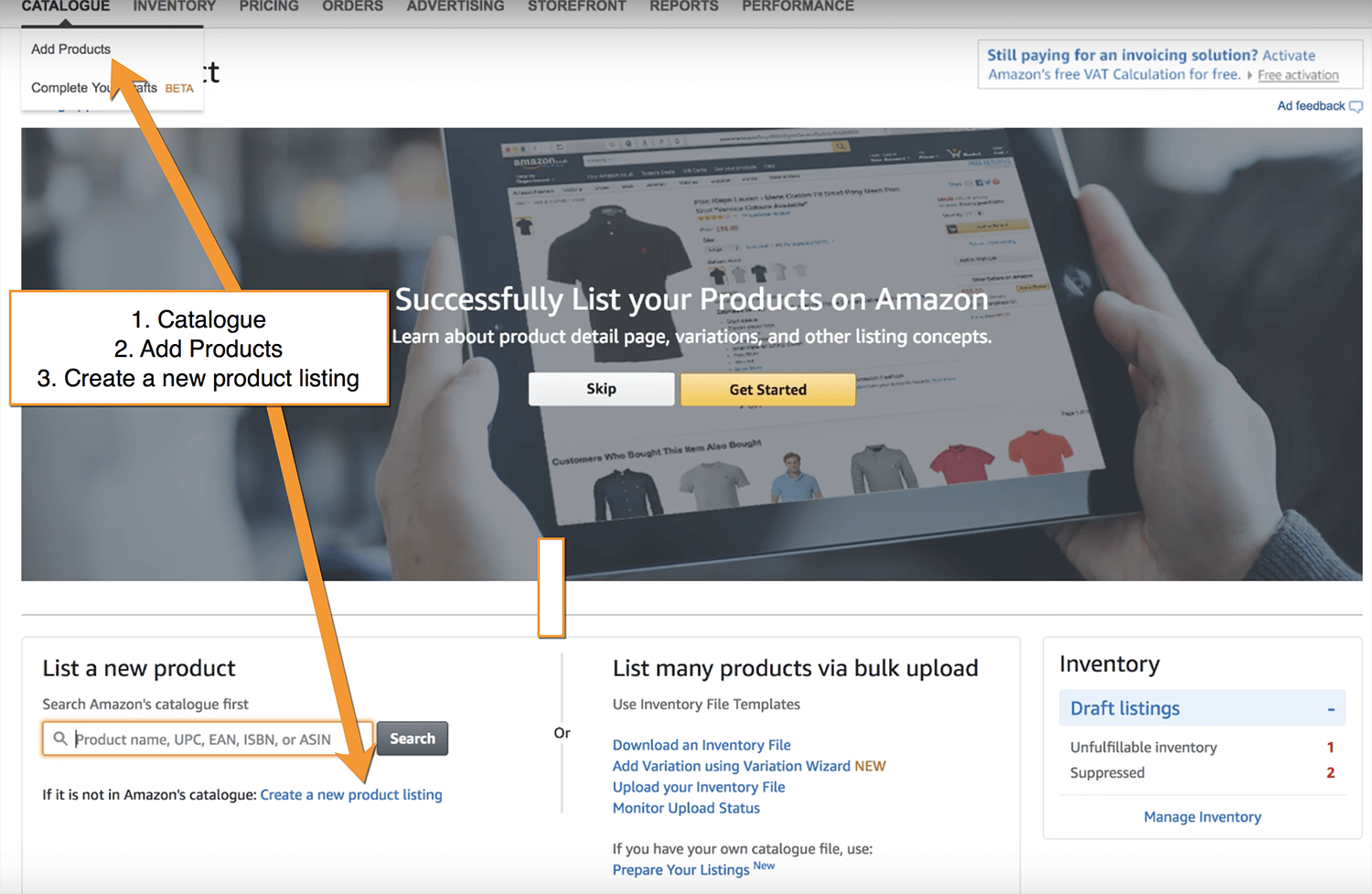 Create a product in seller central