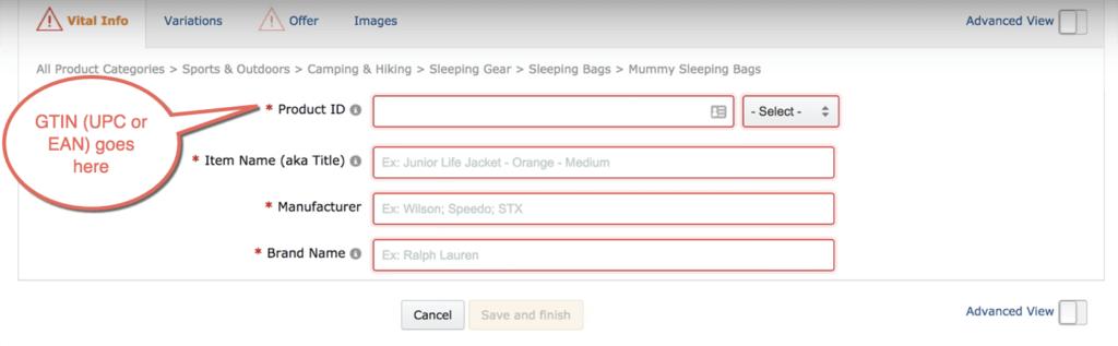 Create product listing on amazon.co.uk
