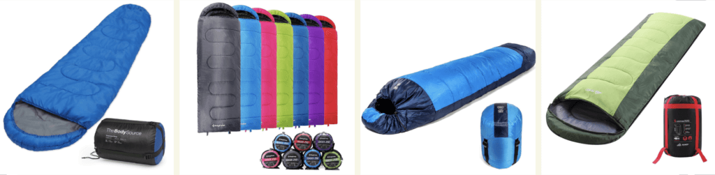 Sleeping bag product photography examples