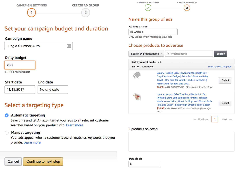Setting up auto campaigns Amazon ppc