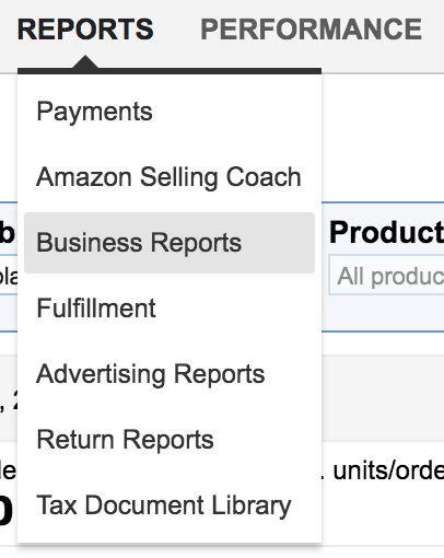 Business reports in seller central