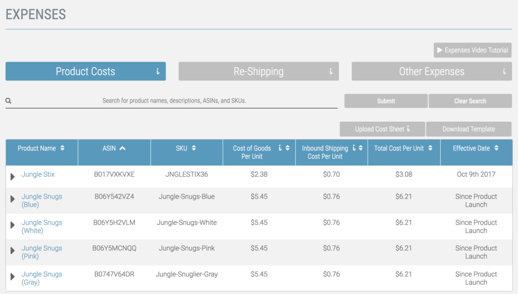 Fetcher expenses tab