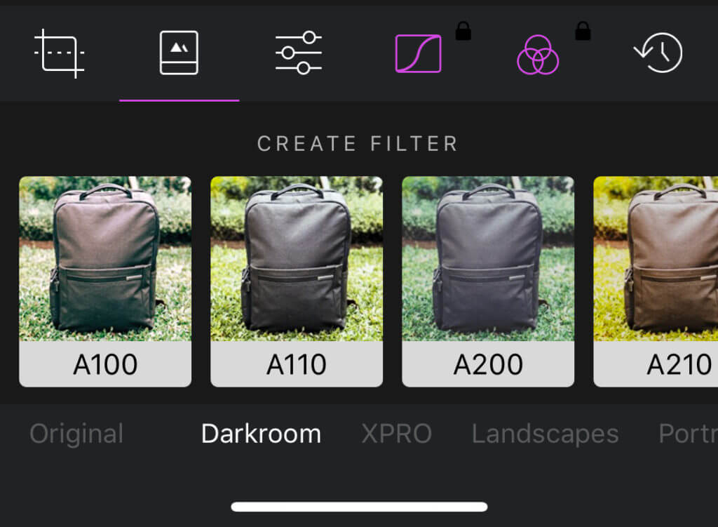 Editing images with filters in darkroom