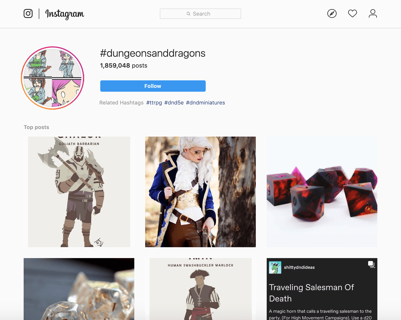 Amazon product niches: Instagram search results page for Dungeons and Dragons