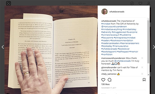 Book open, with instagram post