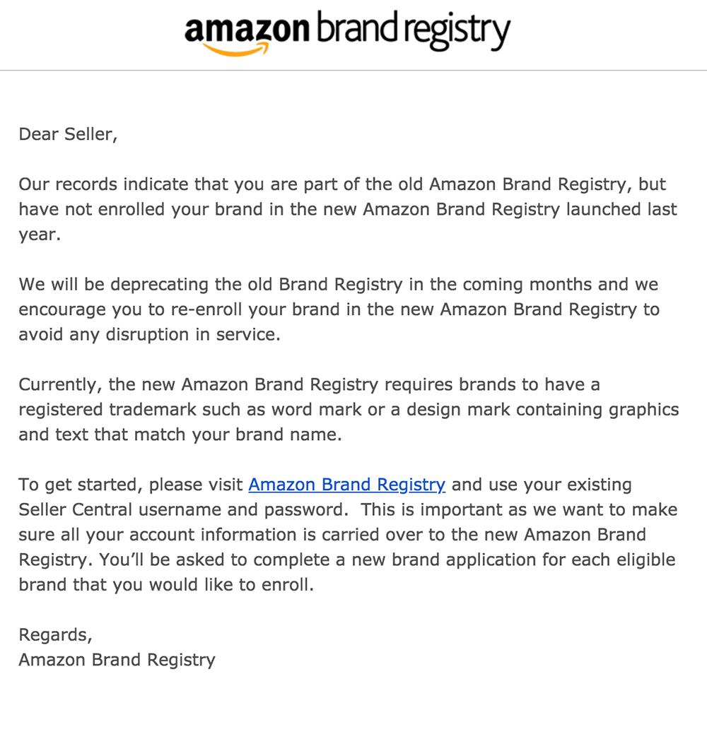 Amazon brand registry grandfathered deprecating