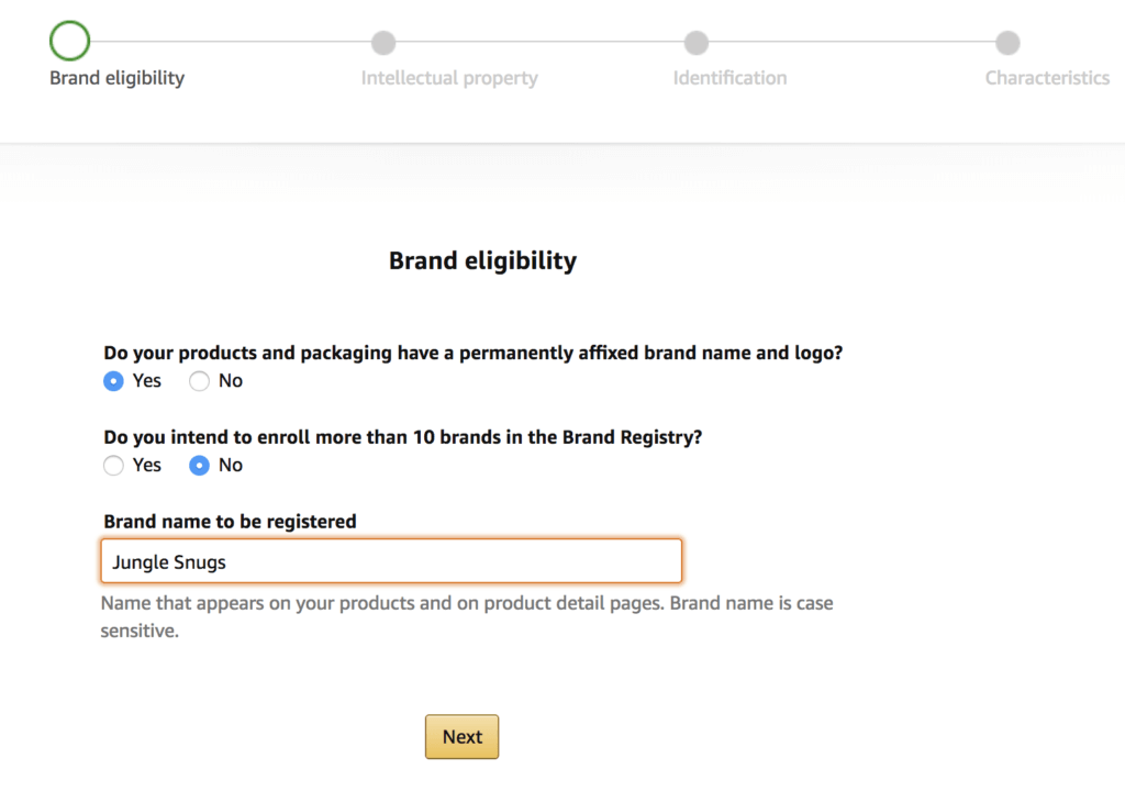 Step 1 - entering the brand registry