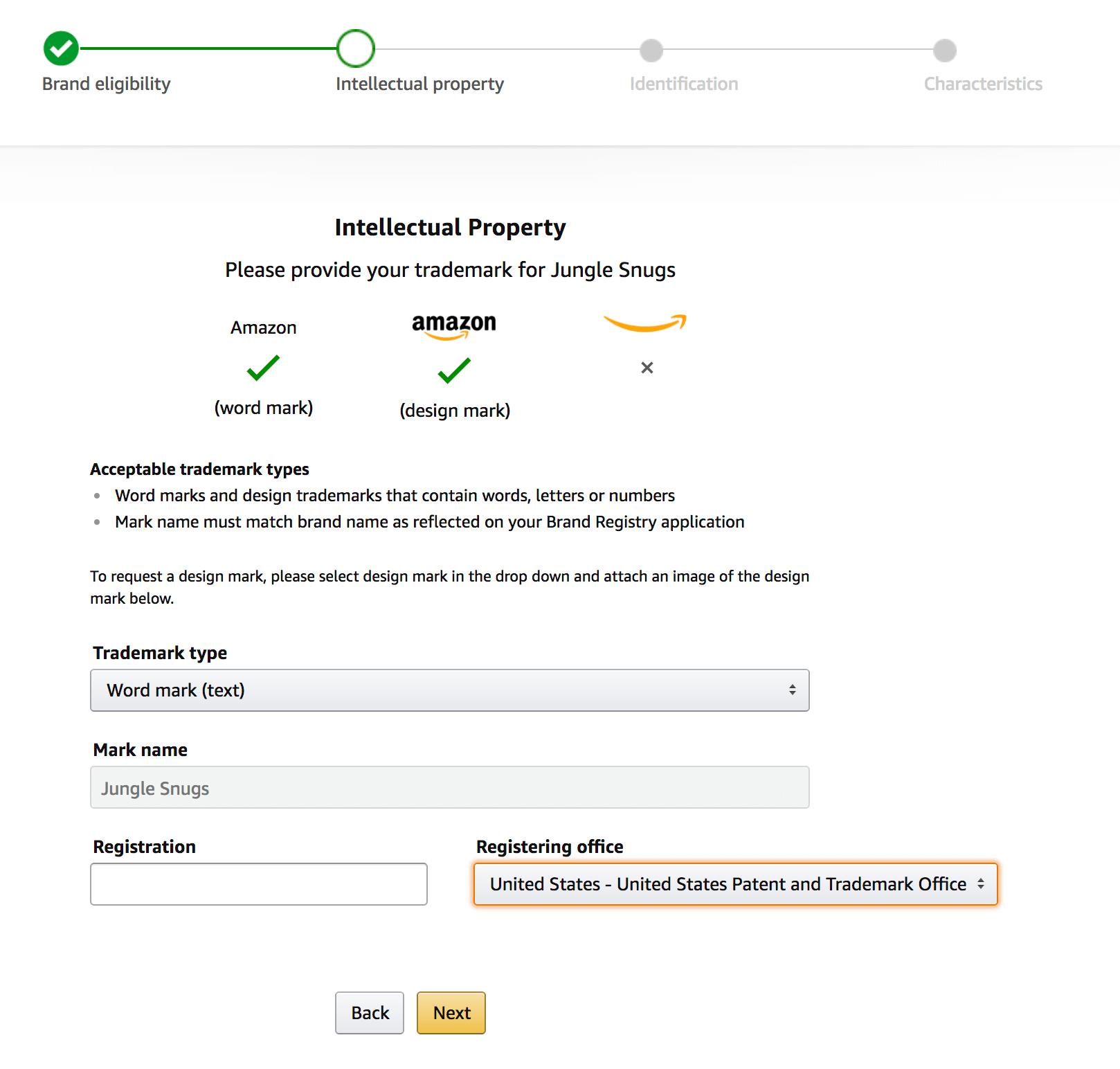 Step 2 - entering the brand registry