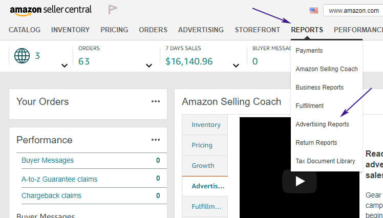 how to create an advertising report on amazon