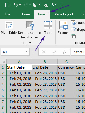 How to create a table in Excel.