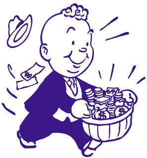 advertising man with basket of money