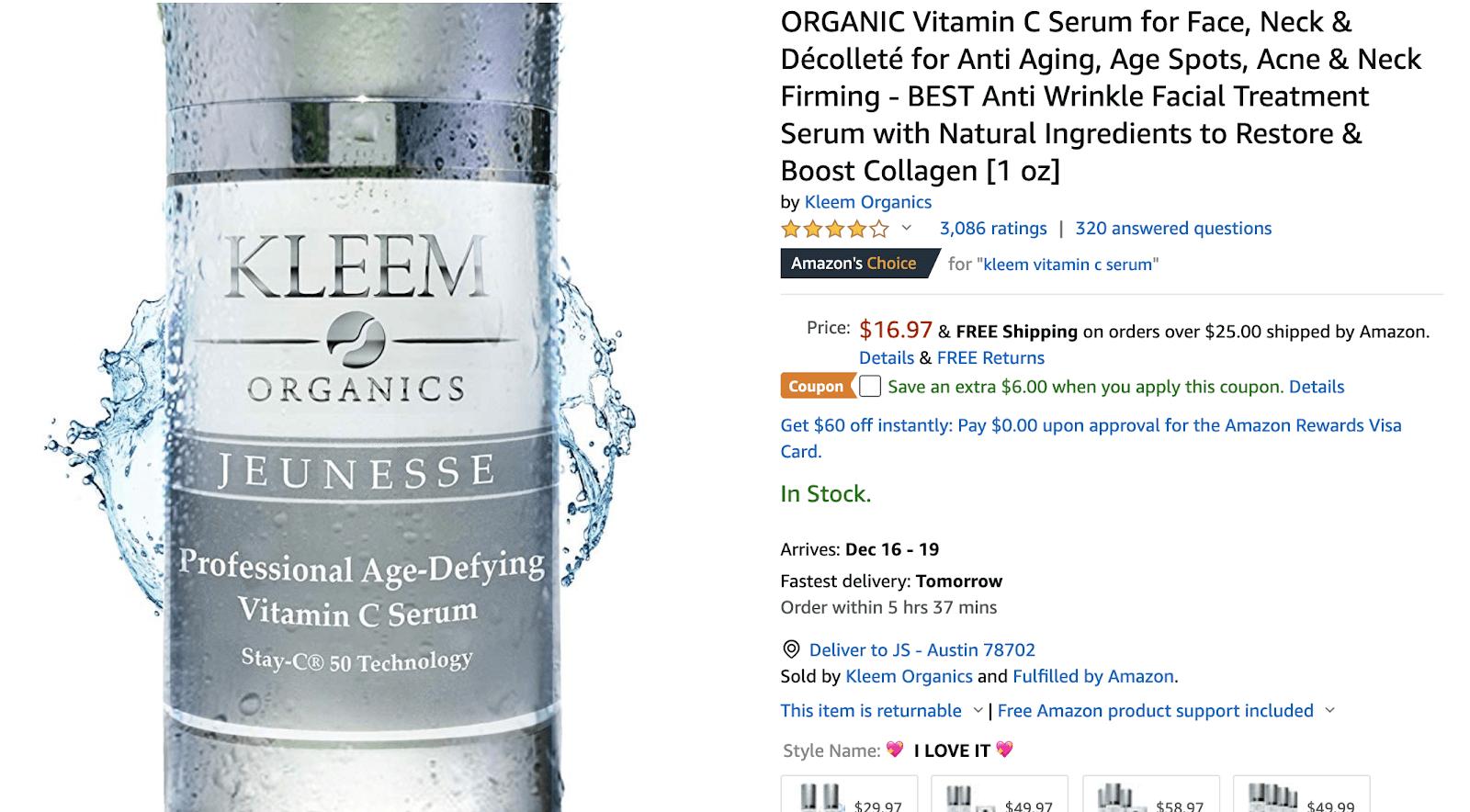 Amazon keyword research tools: Kleem Organics listing
